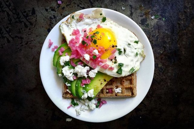 avocado waffle with sunny egg