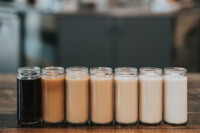 Coffee in jars with spices and plant milk