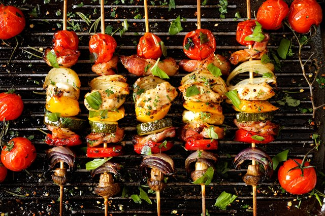 Grilled vegetable and meat skewers