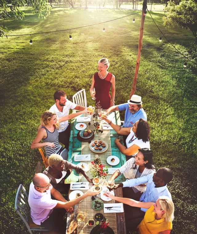 Adults Dining Outdoors