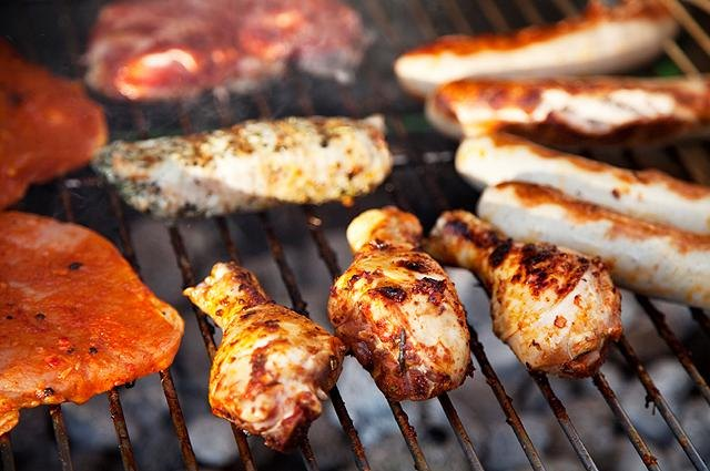 Lean meats on the barbecue.
