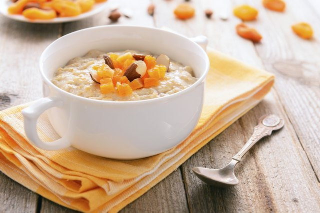 Healthy nutrition: Porridge with dried apricots