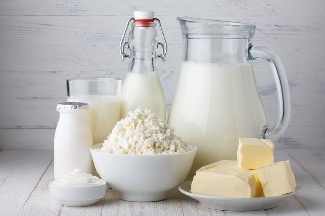 Dairy products such as milk, cheese and butter