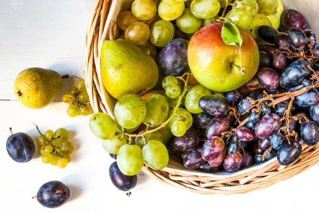 The big basket with autumn fruit