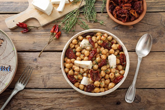 bowl Chickpea salad with dried tomato and cheese