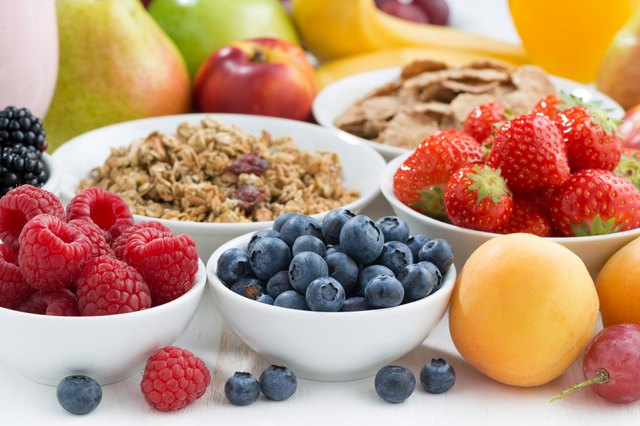 fresh berries, fruit and muesli for breakfast, close-up