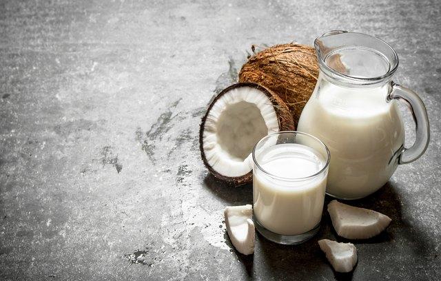 Coconut milk in the jar.