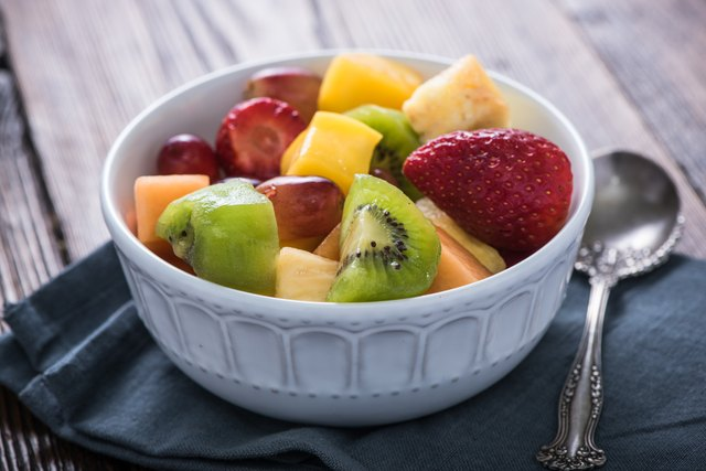 Bowl full of exotic fruits cubes
