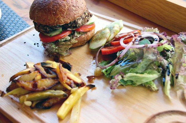 vegan burger with black beans patty
