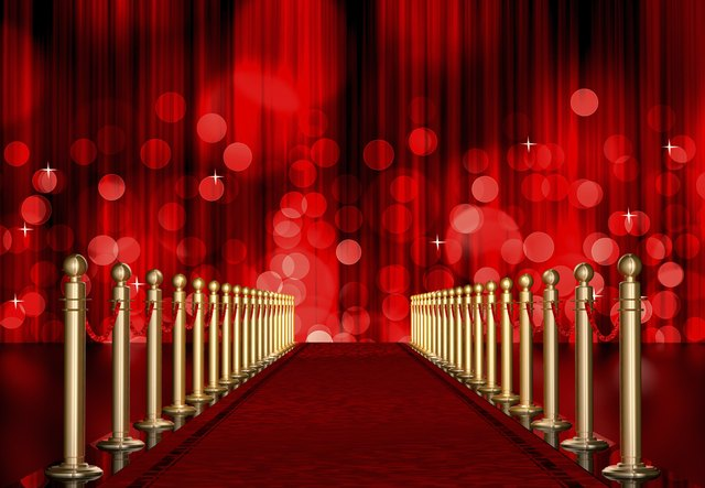 red carpet entrance with Light Burst over curtain