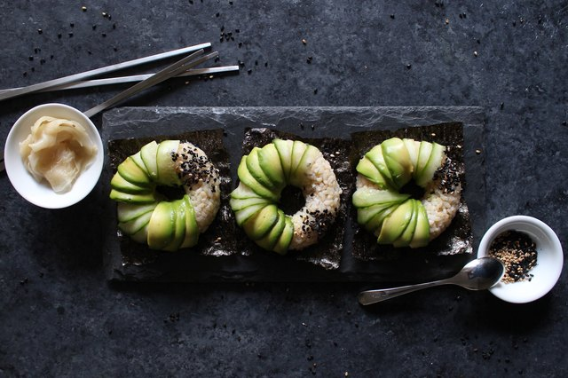 Avocado sushi doughnuts