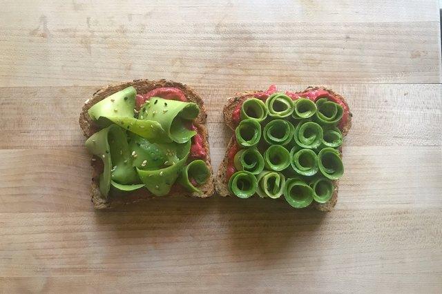 Shaved avocado rolls