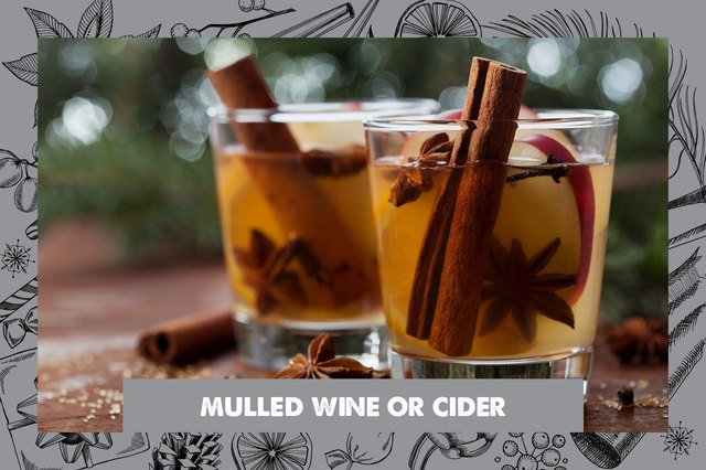 Glasses of mulled wine and cider.